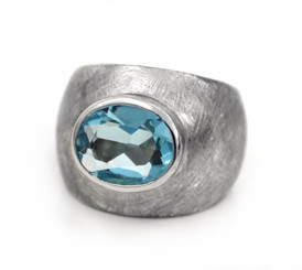 Sterling Silver Etched Finish Crystal Ring, Aqua