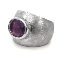 Sterling Silver Etched Finish Crystal Ring, Purple