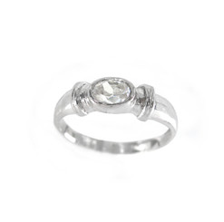 Sterling Silver Oval Crystal Stone Ring, Clear