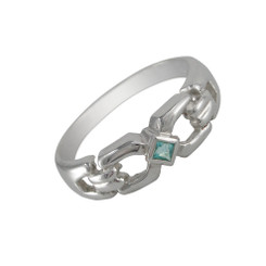 Sterling Silver Square Center Stone Ring, Aqua