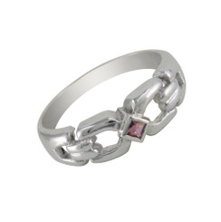 Sterling Silver Square Center Stone Ring, Purple