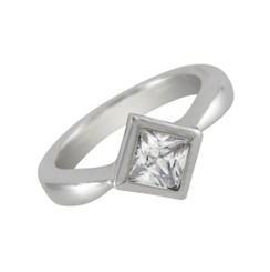 Sterling Silver Square Stone Solitaire Ring, Clear