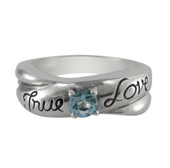 Sterling Silver True Love Stone Ring, Aqua