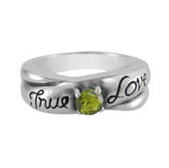 Sterling Silver True Love Stone Ring, Spring Green