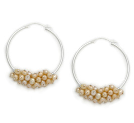 Sterling Silver and Cultured Pearls Cluster Hoop Earrings, Champagne