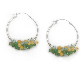 Sterling Silver and Cultured Pearls Cluster Hoop Earrings, Green Combo