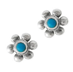 Sterling Silver Daisy Flower Stone Inlay Stud Post Earrings, Turquoise