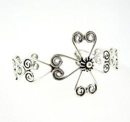 Sterling Silver Flower Swirl Cuff Bracelet