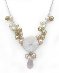 Carved Mother of Pearl Flower Crystal Drop Cultured Pearl Cluster Necklace