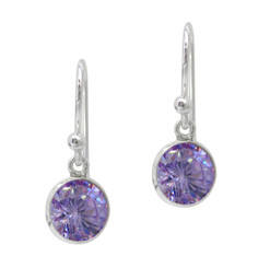 Sterling Silver Round Cubic Zirconia Drop Earrings, 6mm Lavender