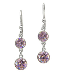 Sterling Silver Two Round Framed Crystals Drop Earrings, Pink