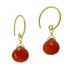 Stunning Vermeil Gemstone Drop on Open Circle Hook Earrings, Carnelian