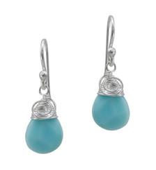 Briolette Stone Drop Coil and Spiral Wrapped Sterling Silver Earrings, Sky Blue