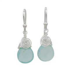 Briolette Stone Drop Coil and Spiral Wrapped Sterling Silver Earrings, Azure Blue