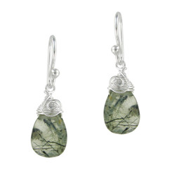 Briolette Stone Drop Coil and Spiral Wrapped Sterling Silver Earrings, Prehnite