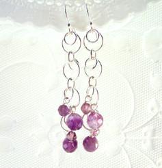 Sterling Silver Circle Links Stone Beads Drop Earrings, Amethyst