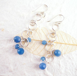 Sterling Silver Circle Links Stone Beads Drop Earrings, Blue Quartz