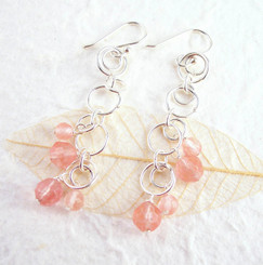 Sterling Silver Circle Links Stone Beads Drop Earrings, Cherry Quartz