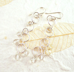 Sterling Silver Circle Links Stone Beads Drop Earrings, Clear