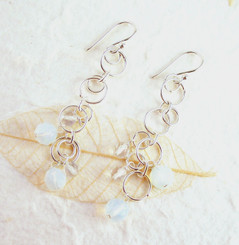 Sterling Silver Circle Links Stone Beads Drop Earrings, Iridescent White