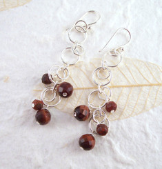 Sterling Silver Circle Links Stone Beads Drop Earrings, Red Tiger's Eye