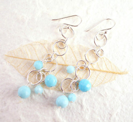 Sterling Silver Circle Links Stone Beads Drop Earrings, Sky Blue
