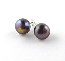 Sterling Silver 10-11 mm Cultured Pearl Stud Post Earrings, Peacock