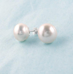 Sterling Silver 10-11 mm Cultured Pearl Stud Post Earrings, White