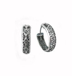 Sterling Silver Ornate Filigree Band Hoop Earrings