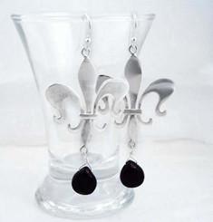 Sterling Silver Fleur de Lis Stone Drop Earrings, Black