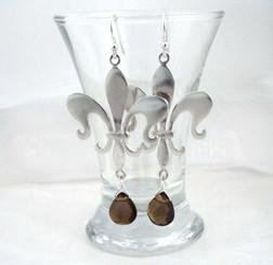 Sterling Silver Fleur de Lis Stone Drop Earrings, Smoke