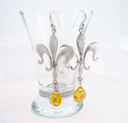 Sterling Silver Fleur de Lis Stone Drop Earrings, Yellow