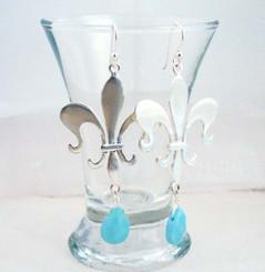 Sterling Silver Fleur de Lis Stone Drop Earrings, Sky Blue