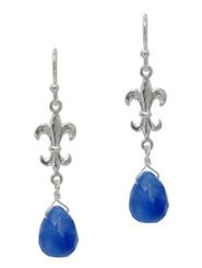 Sterling Silver Fleur-de-lis and Stone Drop Earrings, Blue Quartz