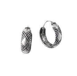 Sterling Silver Criss Cross Band Hoop Earrings, 16mm