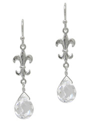 Sterling Silver Fleur-de-lis and Crystal Drop Earrings, Clear