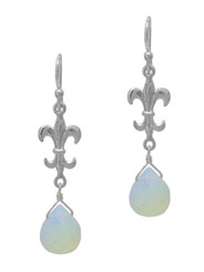 Sterling Silver Fleur-de-lis and Crystal Drop Earrings, Iridescent White
