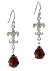 Sterling Silver Fleur-de-lis and Crystal Drop Earrings, Purple