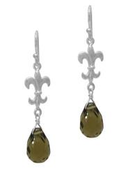 Sterling Silver Fleur-de-lis and Crystal Drop Earrings, Smoke