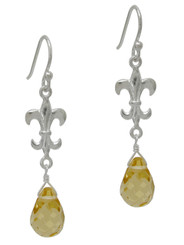 Sterling Silver Fleur-de-lis and Crystal Drop Earrings, Yellow