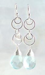 Sterling Silver Circle Charms Link Drop Earrings, Aqua
