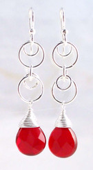Sterling Silver Circle Charms Link Drop Earrings, Red