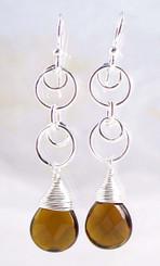 Sterling Silver Circle Charms Link Drop Earrings, Smoke