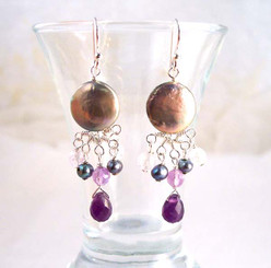 Sterling Silver Coin Pearl and Mix Stones Center Drop Earrings, Amethyst