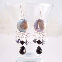Sterling Silver Coin Pearl and Mix Stones Center Drop Earrings, Black