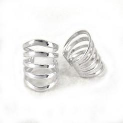 Sterling Silver Five Open Bands Ear Cuff Earring, One Piece