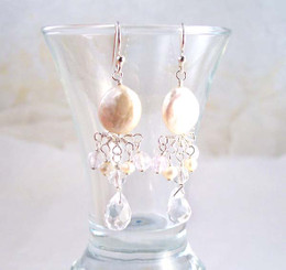 Sterling Silver Coin Pearl and Mix Stones Center Drop Earrings, Clear