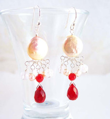 Sterling Silver Coin Pearl and Mix Stones Center Drop Earrings, Red