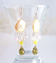 Sterling Silver Coin Pearl and Mix Stones Center Drop Earrings, Smoke