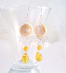Sterling Silver Coin Pearl and Mix Stones Center Drop Earrings, Yellow